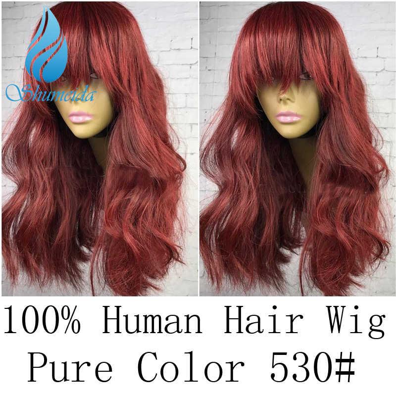 SHD 13x6 Peluca de pelo humano frontal de encaje con explosión pelo brasileño Remy onda del cuerpo Color puro 530 # pre desplumado con pelo de bebé