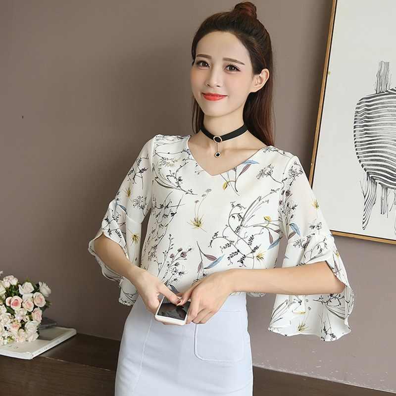 夏の女性のシャツ小 V ネック女性ブラウス韓国甘い花フリルバタフライスリーブシフォントップス服