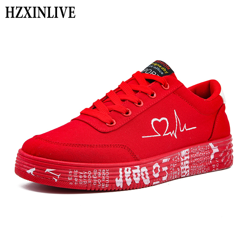 HZXINLIVE 2019 Fashion Women Vulcanized Shoes Sneakers Ladies Lace-up Casual Shoes Breathable Canvas Lover Shoes Graffiti Flat(China)