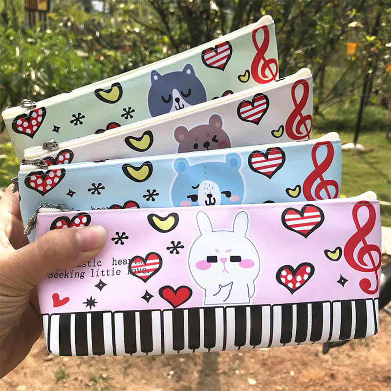 Kawaii Musical PU Pencil Big Bag Cartoon Student Pencil Case Office School Stationery Gift Prize Pecil Box Cheap Creative Piano