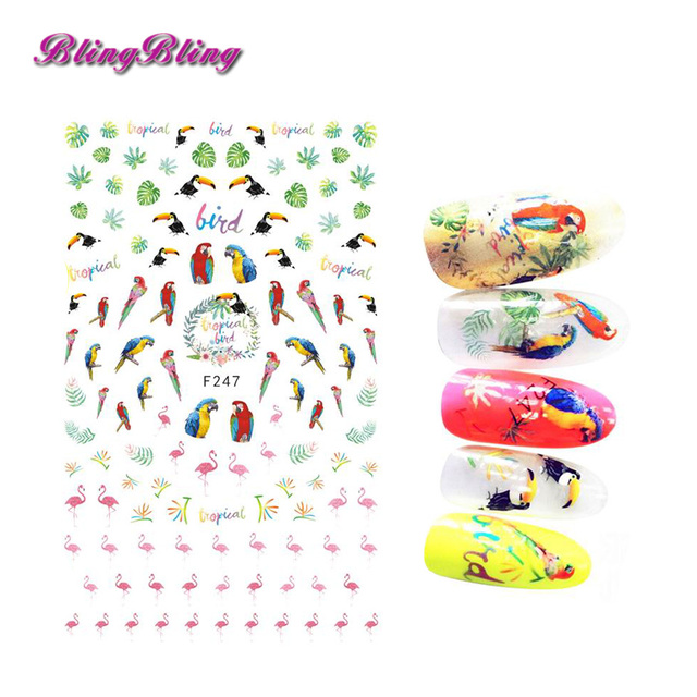 2018 new tropical bird nail sticker parrot adhesive stickers decals flamigo nail art decorations for nials