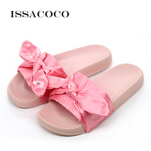 ISSACOCO Womens Summer Solid PVC Flat Indoor Non-slip Slippers Silk Butterfly-knot Home Beach Pantufa