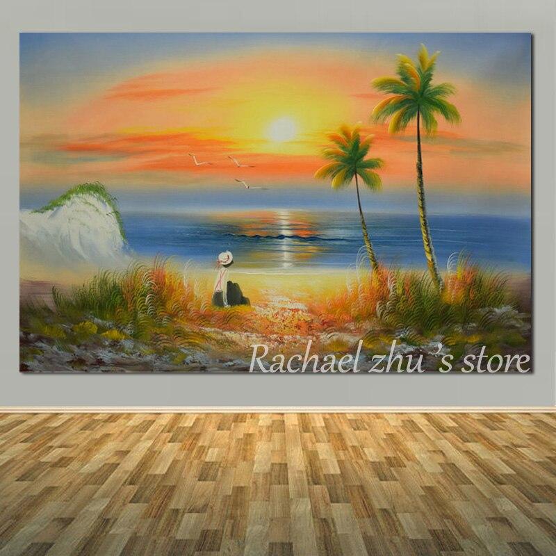 Peint à la main abstraite été coucher de soleil plage peinture à l'huile sur toile moderne paysage marin mur photos Lobby, Bar salon décor à la maison
