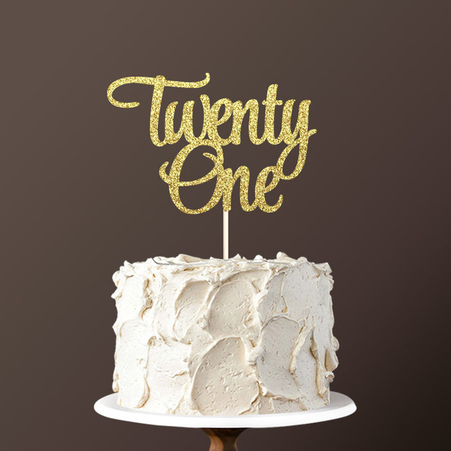 Magnificent Double Sided Gold Glitter Paper Twenty One Cake Topper Happy 21St Personalised Birthday Cards Arneslily Jamesorg