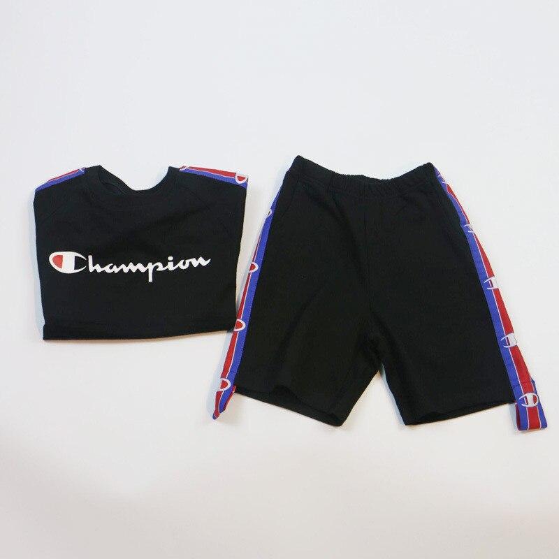 3d86d25868ab New 2017 Fashion Summer Boys Girls Sport Suit Champion Letter Kids Clothes  Children Clothing Set Children Tracksuit 2 Pieces-in Clothing Sets from  Mother ...