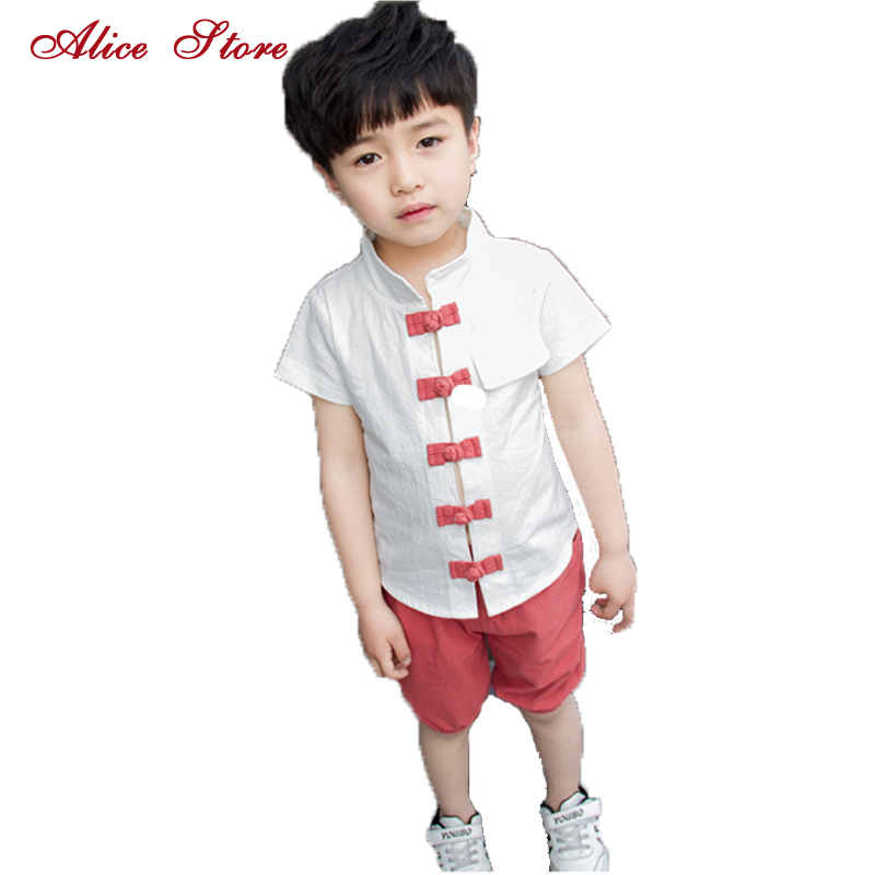 808aaf2dd1 2018 New Summer Boys Chinese Style Linen Clothing Sets Children s Collar  single-breasted Top +
