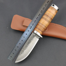 High-carbon steel imitate Damascus Knife 58 HRC Handmade Forged Outdoor Survival Hunting Knife Tactical pocket knife EDC tool