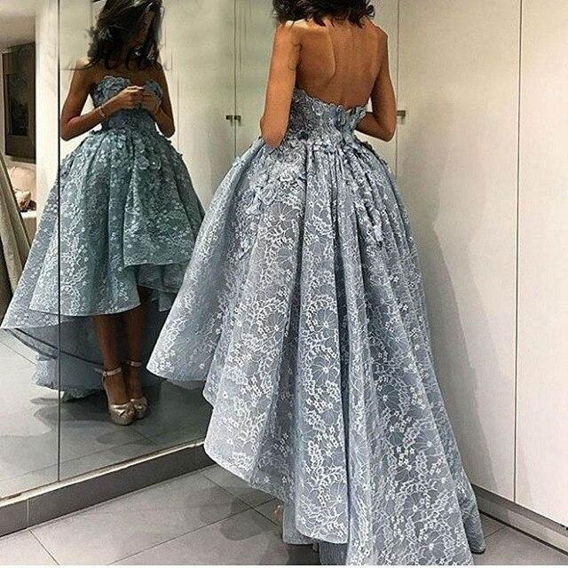 Пыльный Голубой Высокая Низкая платья выпускного вечера 2018 модные 3D Цветы долго назад короткий передний Кружево вечерние платья платье шик халат De Soiree