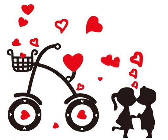 Free Shipping Hot Sell Sweet Cartoon Bicycle Love Wall Stickers Boys&Girls Kiss DIY Stickers For Wedding Room Home Decor 35*50cm