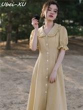 Ubei French retro DRESS summer very fairy minority small plaid dress peter pan collar sweet women