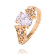 Gold Color Full Crystal Rhinestone Rings Vintage Design Luxury Jewelry Wedding Engagement Round CZ Accessories For Women Gifts