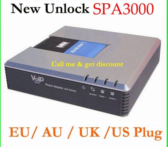DÉBLOQUÉ LINKSYS SPA3000 SPA 3000 VOIP FXS VoIP Téléphone Adaptateur Brand New UA US EU UK Plug livraison gratuite