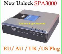 Незаблокированные SPA3000 spa 3000 VoIP FXS VoIP телефонный адаптер Фирменная Новинка AU США ЕС Великобритания Plug Бесплатная доставка