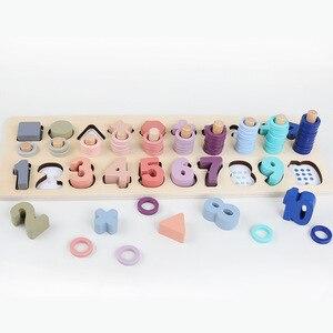 Image 2 - Дошкольные деревянные материалы по методике Монтессори, Обучающие подсчета чисел, подходящая Цифровая форма для раннего развития, Обучающие Математические Игрушки