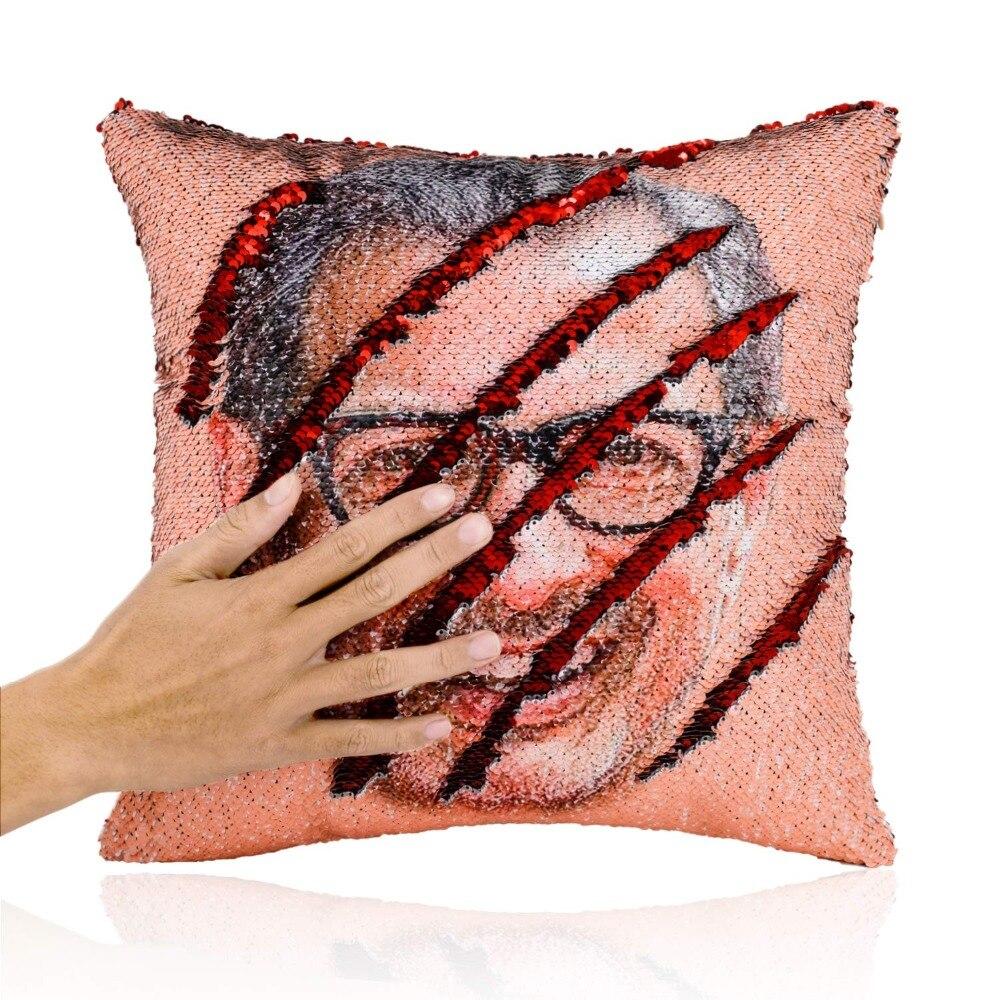 big promotion jeff goldblum smiling face mermaid reversible flip sequin throw pillowcase funny gag gift pillow cover