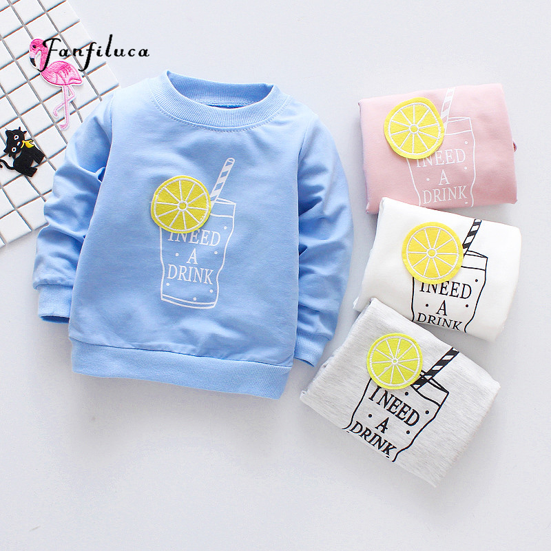 Fanfiluca Brand Cotton Girls T shirts For Baby Girl Spring Long Sleeve Kids Choths Blouse Lemon Style T-shirts Free Shipping trendy see through off the shoulder long sleeve lace blouse for women