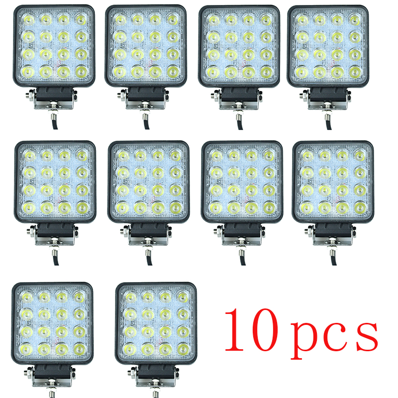 10Pcs 48W 12V-24V LED Work Light Spot/Flood LED Offroad Light Lamp Worklight for Off road ATV Motorcycle Car Truck 22 inch led bar offroad 120w led light bar off road 4x4 fog work lights for trucks tractor atv spot flood combo led lightbars