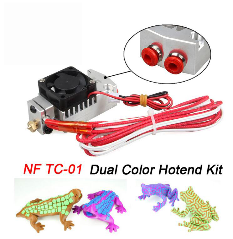 3D Printer Parts Multi-color Extruder 2 in 1 out Hotend NF TC-01 Dual Color Switching Hotend Kit for 0.4mm 1.75m with fan цена 2017