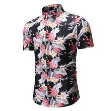 New model Shirts Mens Clothing Floral Blouse Men Slim fit Flower Shirt Fashion Summer
