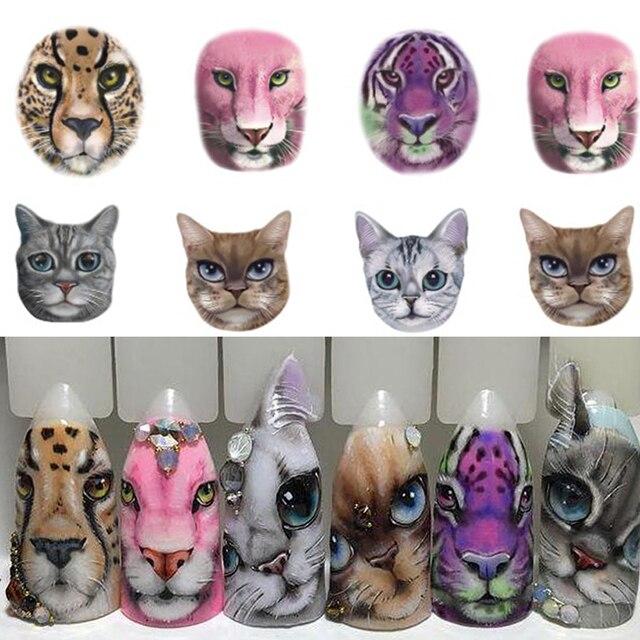 US $0 22 20% OFF|1 Lembar Nail Sticker Sexy Desain Kemarahan  Kucing/Harimau/Leopard Slide untuk Transfer Air Temporary Tattoo Nail  Dekorasi CHSTZ455