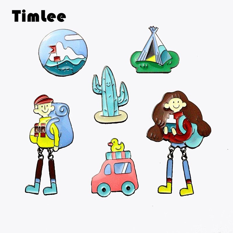 Timlee X356 Cartoon Cute Boys Girl Pins Tent Car Metal Brooch Pins ,Fashion Jewelry Wholesale