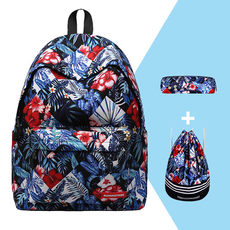 Women Backpack 3pcs Sets Mochila Feminine School Bags for Teenagers Printing Backpack With Drawstring Bags and Pencil Case 2019