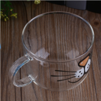 Soledi Gato Gatito de Cristal Taza de Café Dolce gusto Infusor de Té Decoración Del Hogar Taza de Agua Clara Transparente 550 ML