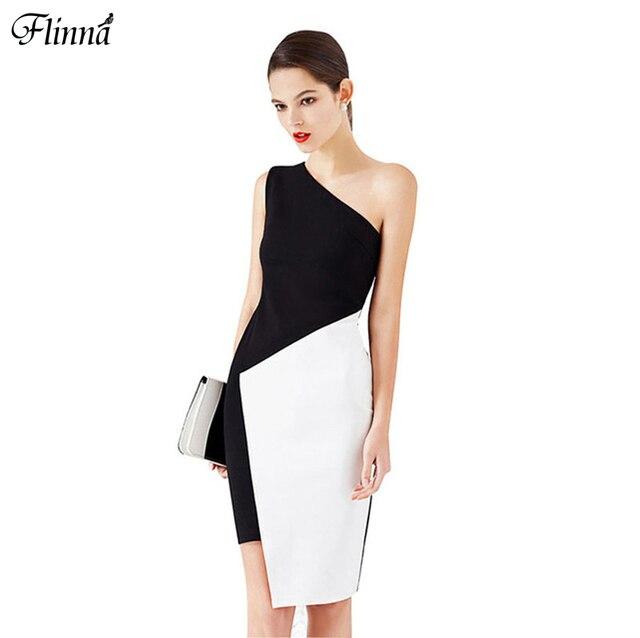 Cotton One Shoulder Asymmetric Brief Club Dress Black White Patchwork Party Sexy Women Single Piece 2017 New Fashion Autumn