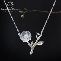 Lotus Fun Moment Real 925 Sterling Silver Handmade Fashion Jewelry Flower in the Rain Necklace with Pendant for Women Collier