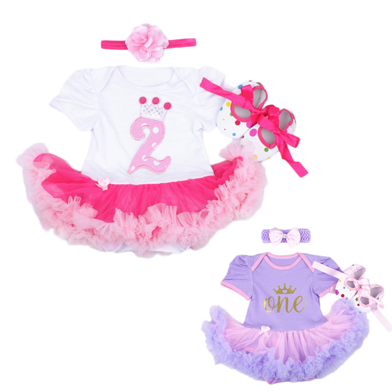Baby Girl Infant 3pcs Clothing Sets Tutu Romper Dress/Jumpersuit One or Two Yrs Old Bebe Party Birthday Suit Costumes Vestidos