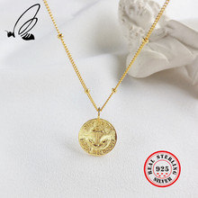 Vintage Anchor Design Pendant Necklace For Fashion Women 925 Sterling Silver Party Bead Chain Coin Jewelry Accessories