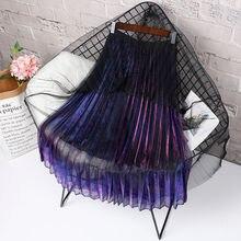 UPPIN сексуальная градиент Цвета плиссированные юбки для Для женщин Высокая талия на весну и зиму Длинные Тюль Девушки Готический юбки Для женщин s