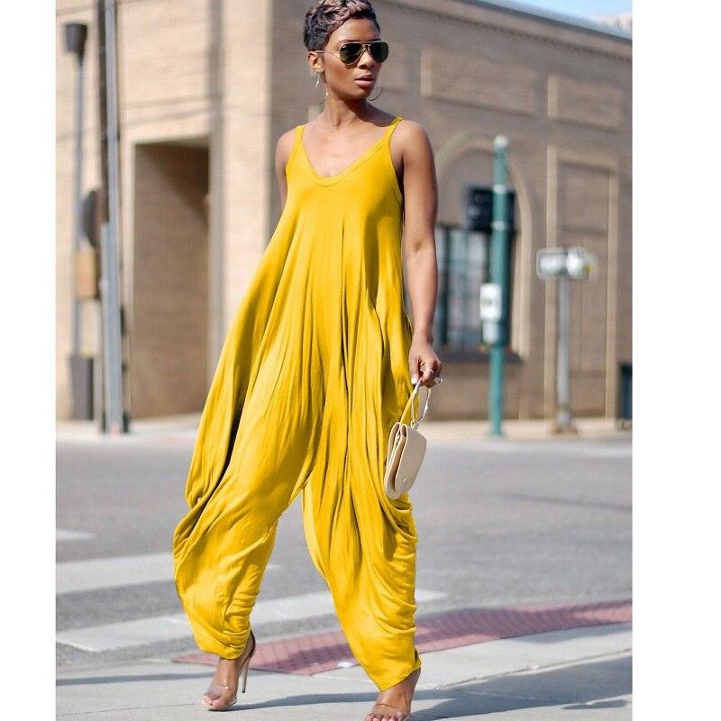 Casual Loose Harem Jumpsuit mono mujer black Summer spring woman jumpsuit wide pant Women v neck sleeveless yellow jumpsuit בגדי ים עם רוכסן לילדות