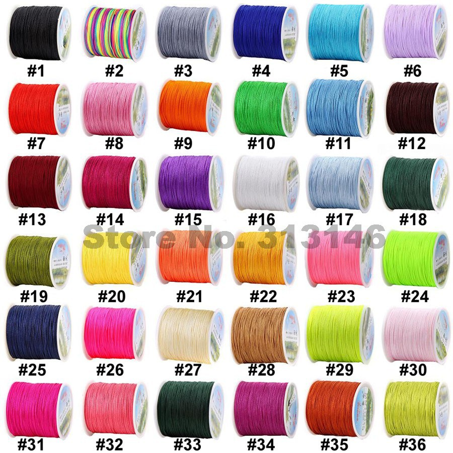 Wholesale 100M/Roll 0.8MM Mix Color Nylon Black Chinese Knotting Cord Beading String Thread Rope Handicraft Bracelet Findings cup