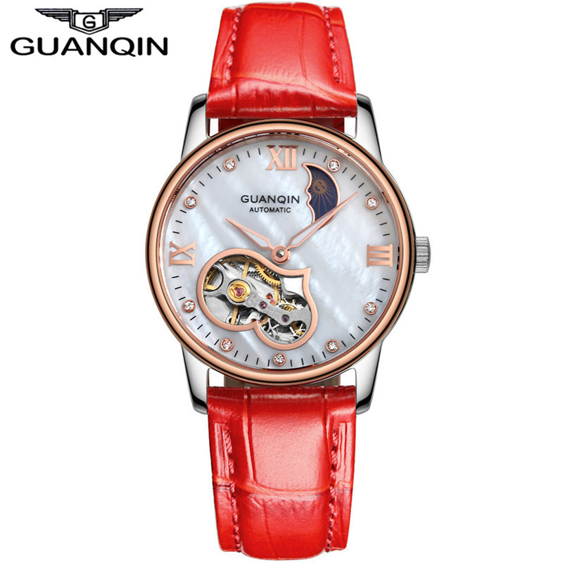 Fashion Women watches brand GUANQIN Tourbillon Automatic Mechanical Watches Women Waterproof Sapphire  Leather Strap Lady Watch europe 2015 new women winter coat slim turn down collar long double breasted leather match cotton jacket coat w20