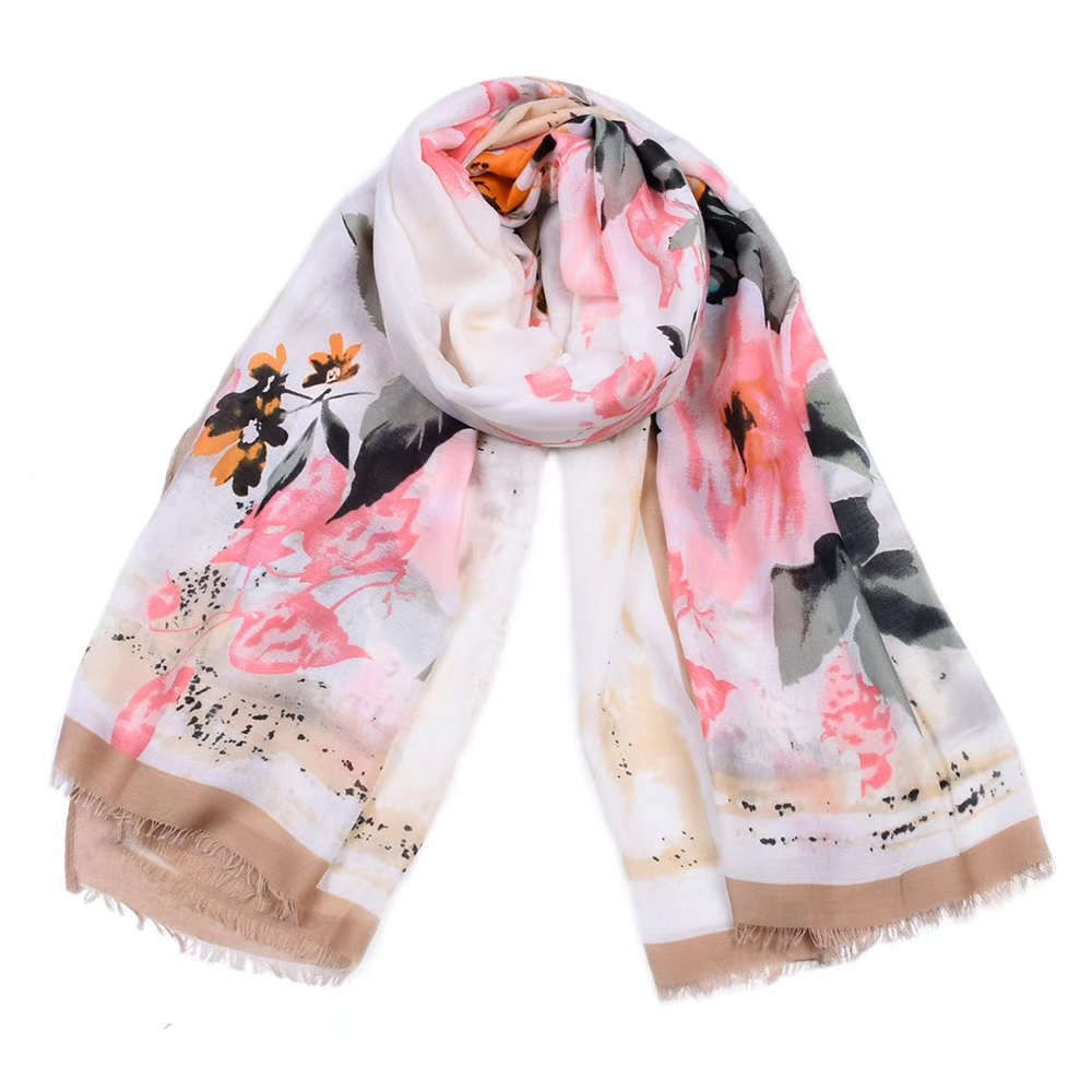 2018 Fashion Cotton Ombre Rose Flower Print   Scarf   Shawls Cotton Floral   Scarves     Wrap   Hijab Wholesale 10pcs/lot Free Shipping