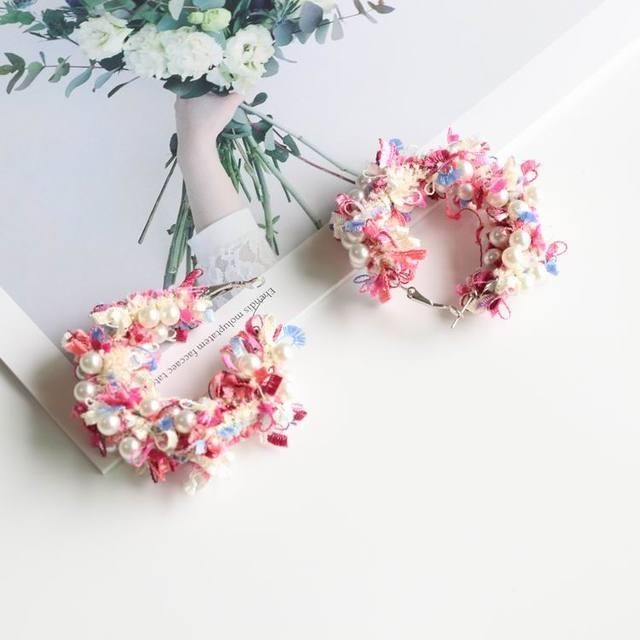 Lace Wreath Big Circle Handmade Earrings 4