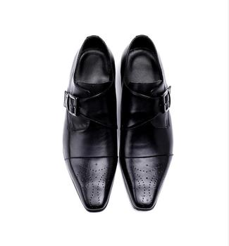 New 2018 Men Business Formal Dress Shoes Oxford British Style Men Shoes Brown Black borgues carved  breathable handmade shoes