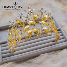 HIMSTORY New Arrival Fashion Leaf Floral Clear Rhinestones Vintage Bridal Tiara Crown Wedding Hair Accessories