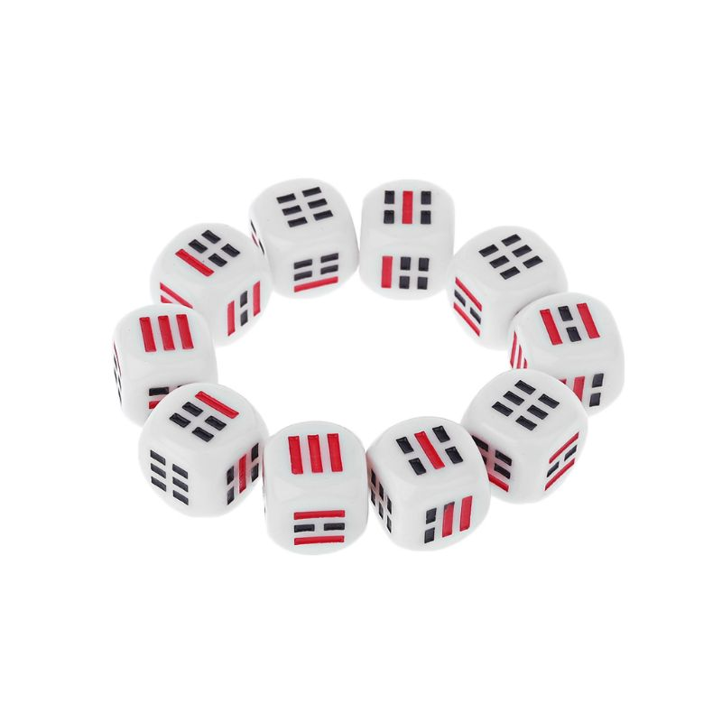 10Pcs D6 Dices For Easy Fortune-Telling Guess Divination Dice Ba Gua Eight Trigrams Parts Accessory Desktop Table Playing Games