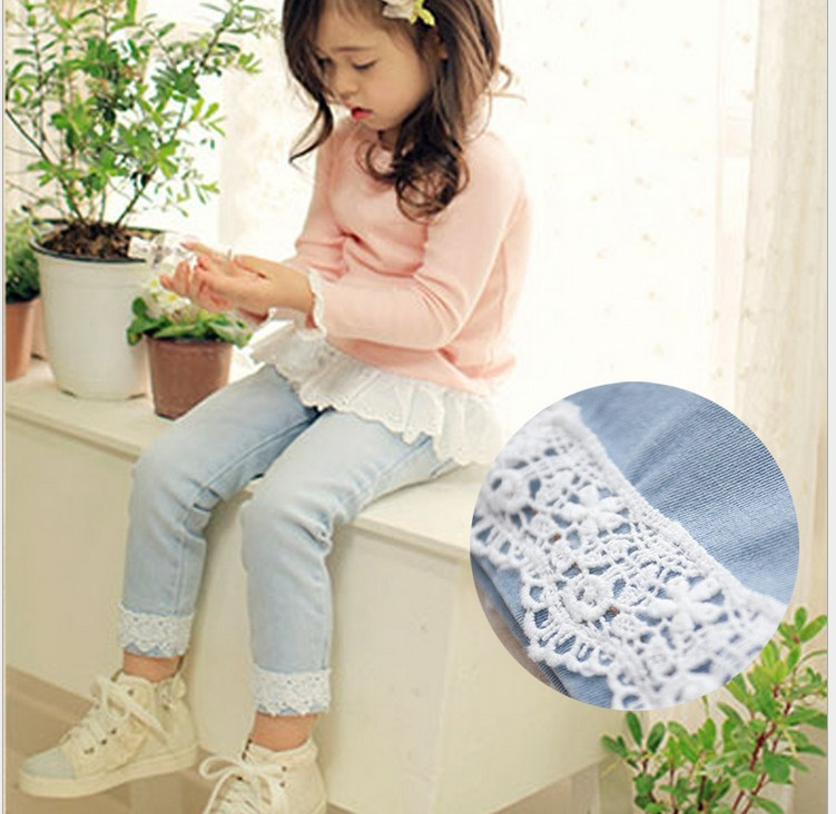 2017 New arrival Spring Girls Jeans With Ruffles Casual Pants for Girl pencil  Denim pants Lovely Long Trousers 2017 New arrival Spring Girls Jeans With Ruffles Casual Pants for Girl pencil  Denim pants Lovely Long Trousers