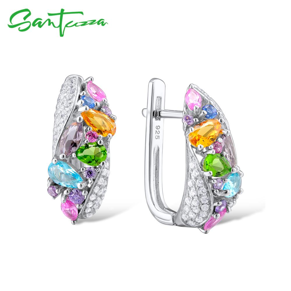 SANTUZZA Silver Earrings For Women 925 Sterling Silver Stud Earrings Silver 925 with Colorful Natural Stones