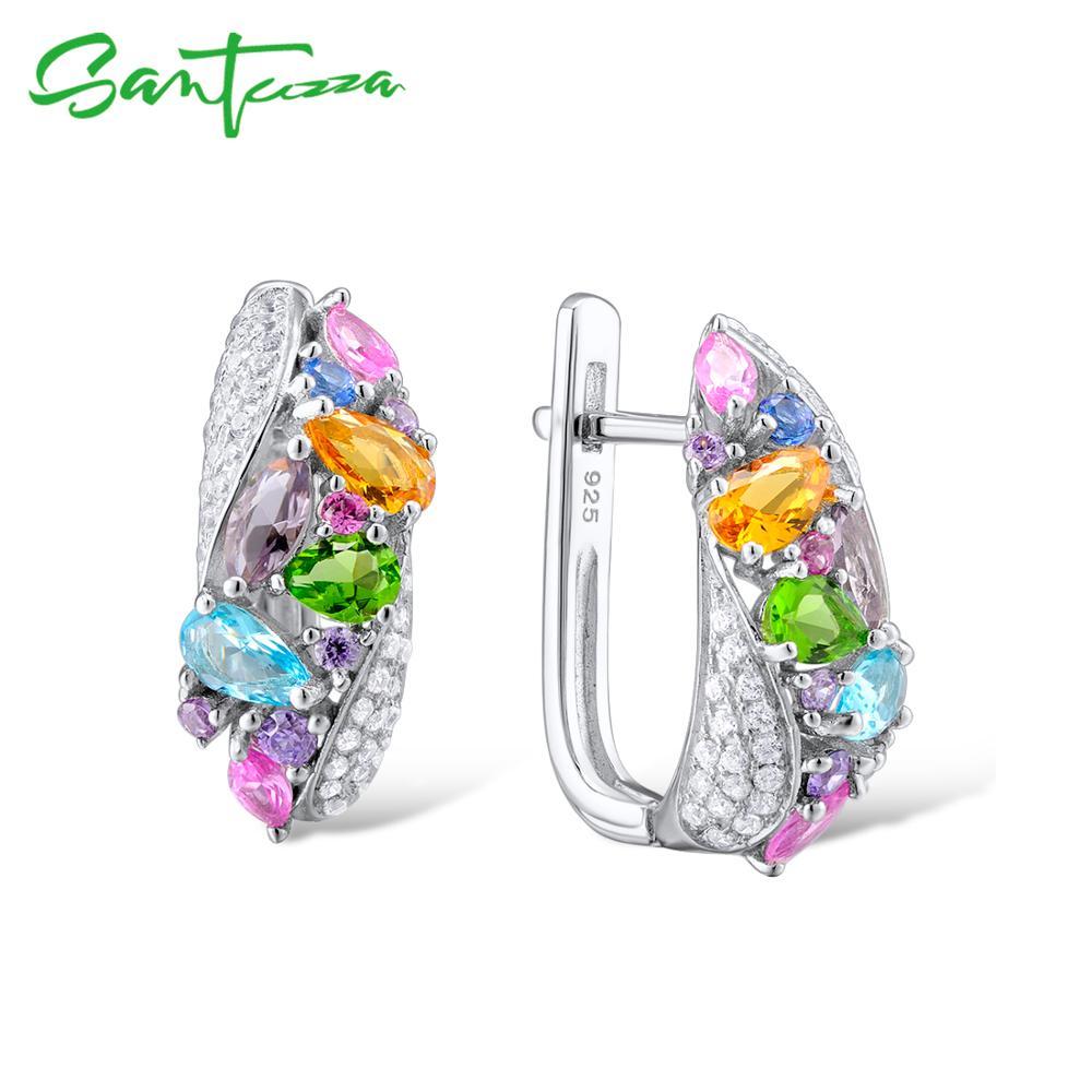 SANTUZZA argent boucles d'oreilles pour les femmes 925 en argent Sterling boucles d'oreilles argent 925 avec des pierres naturelles colorées brincos bijoux