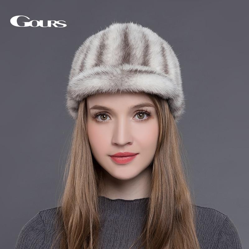 Gours Natural Mink Fur Hats for Women Winter Warm Fashion Luxurious Brand Ladies High Quality Visors Caps Black New Arrival cx c 12a genunie mink fur ladies fashion hats drop shipping