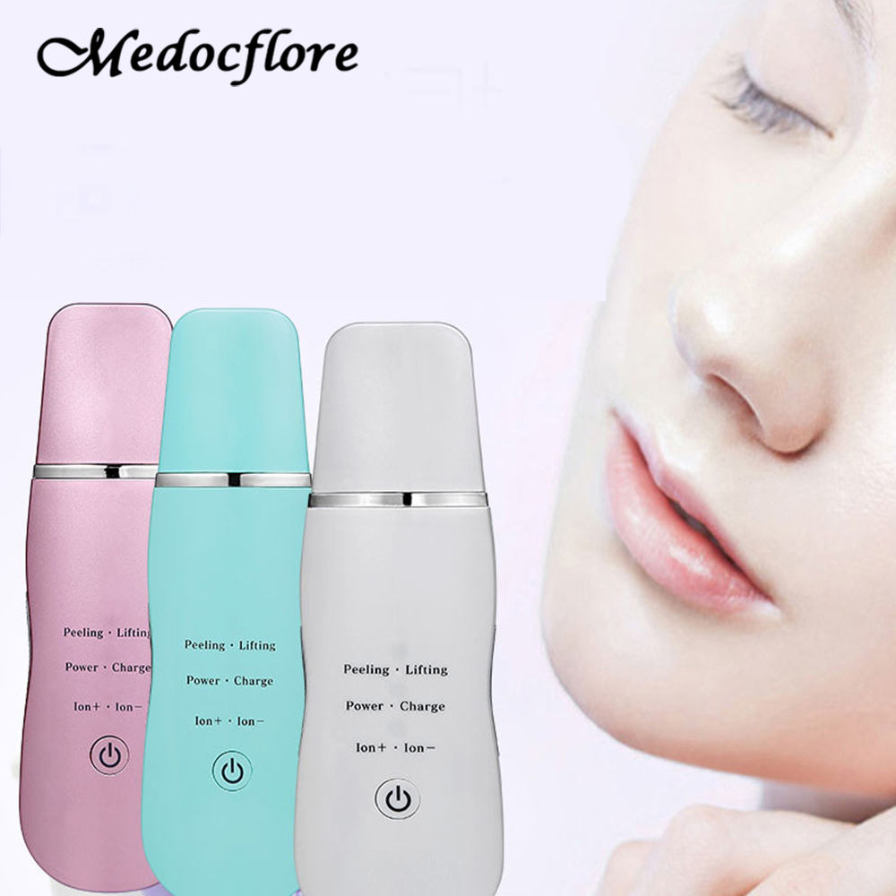 Ultrasonic Facial Blackhead Scraping Machine Cutter Iontophoresis Device Export Rejuvenation Skin Beauty Cleansing Instrument zip pocket drawstring hooded padded jacket
