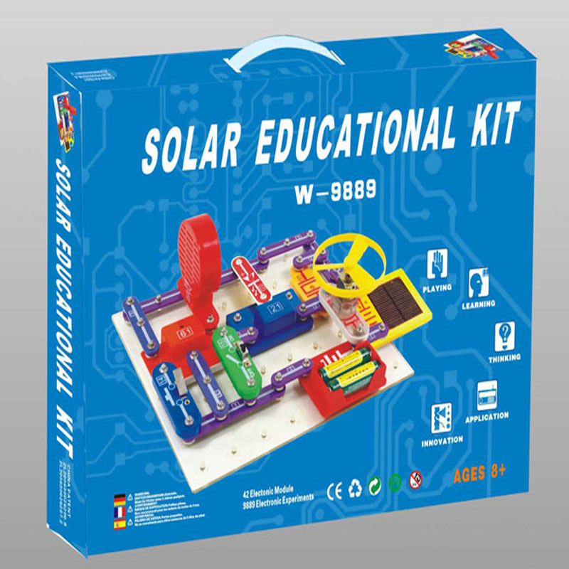 Solar electronic building blocks children's  electrical science and education DIY toys Christmas gift clock table model teacher demonstration with primary school mathematics science and education equipment three needle linkage