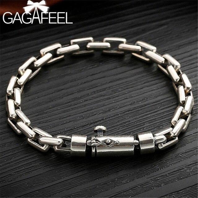 GAGAFEEL 6/8MM Male Bracelet 925 Sterling Silver Jewelry Punk Bangles Bracelets for Men Mens Fashion Jewelry
