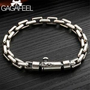 Image 1 - Gagafeel 6/8 ミリメートル男性ブレスレット 925 スターリングシルバージュエリーパンク腕輪ブレスレット男性のための男性のファッションジュエリー