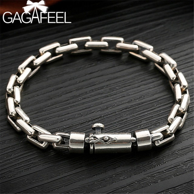 Gagafeel 6/8 ミリメートル男性ブレスレット 925 スターリングシルバージュエリーパンク腕輪ブレスレット男性のための男性のファッションジュエリー