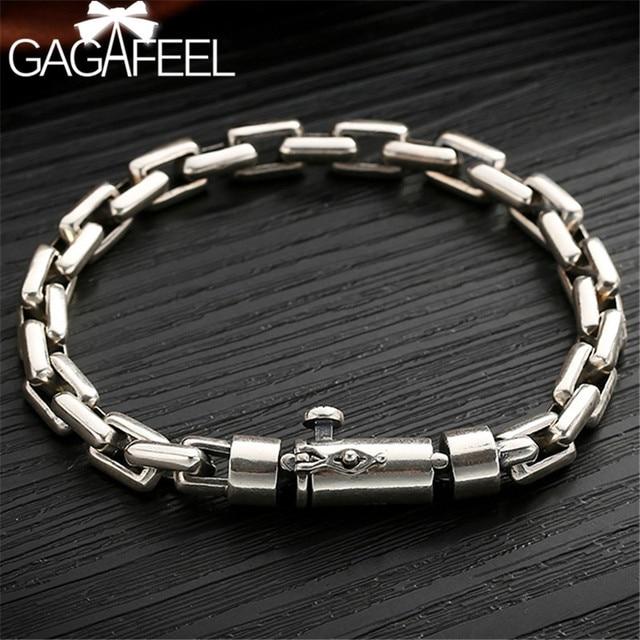 Gagafil 6/8 مللي متر الذكور سوار 925 فضة مجوهرات الشرير أساور أساور للرجال مجوهرات الأزياء للرجال